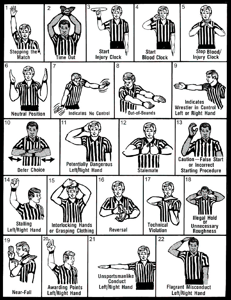 wrestling referee hand signals